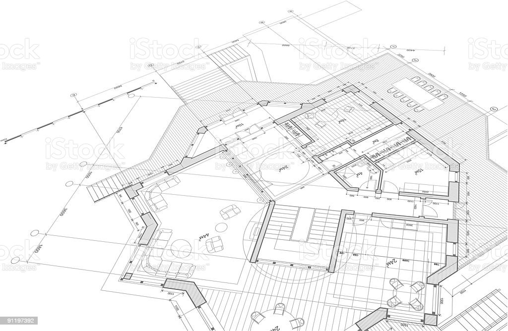 Architectural blueprint - plan of the house vector art illustration