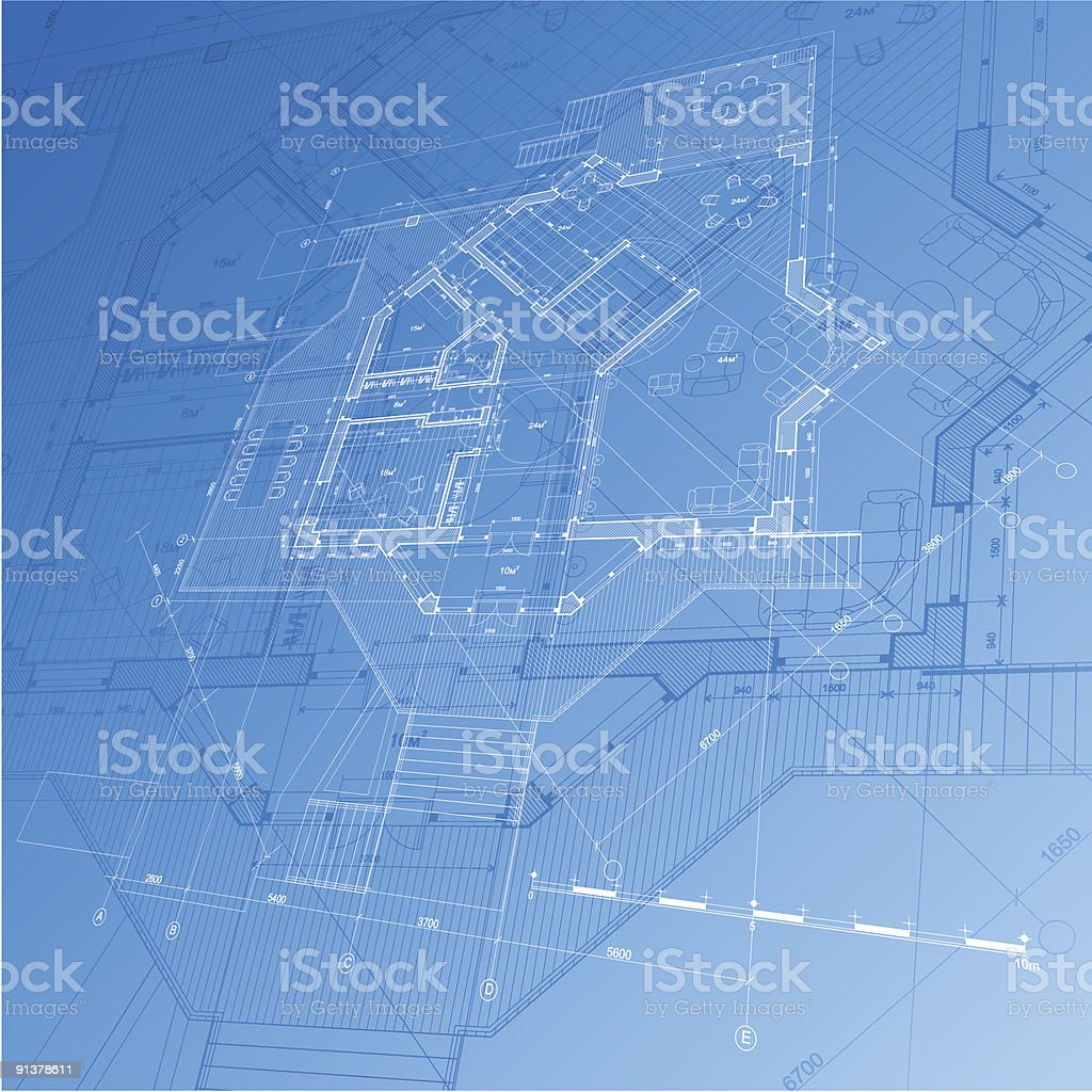Architectural blueprint - plan of the house royalty-free stock vector art