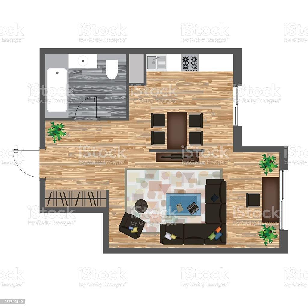 Architectural color floor plan studio apartment vector for Studio floor