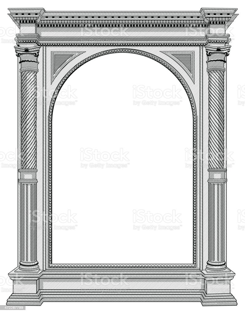 Architectural details of an arch vector art illustration