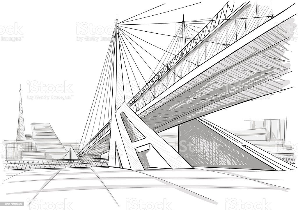 Architectural drawing of a bridge vector art illustration
