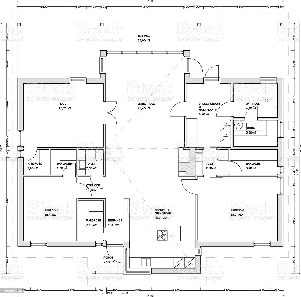 Architectural drawing of a house vector art illustration