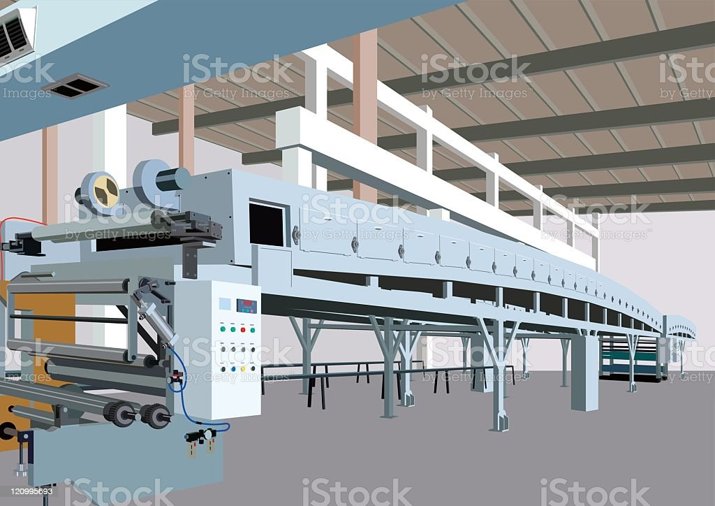 Architectural drawing of a paper factory vector art illustration