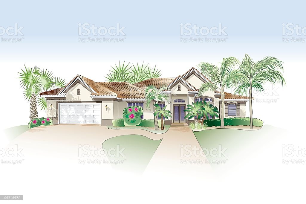 Architectural Drawing - Southern Style Home royalty-free stock vector art