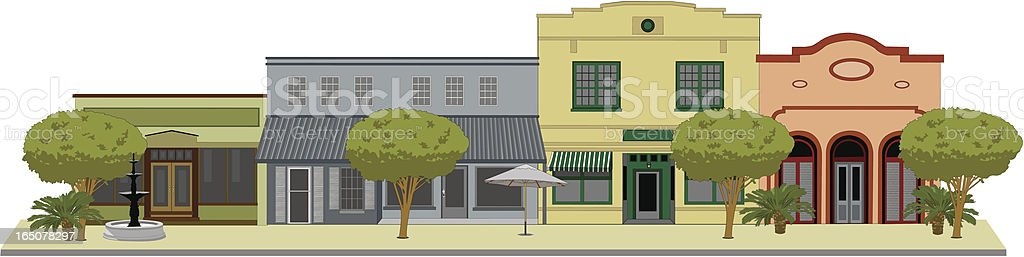 A architectural flat drawing of a small town with landscape vector art illustration