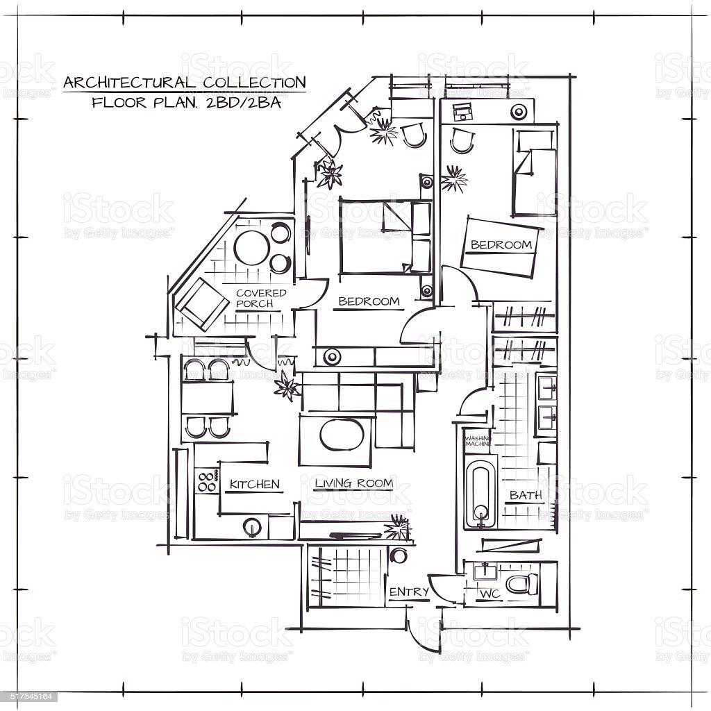 architectural floor plan stock vector art 517545164 istock