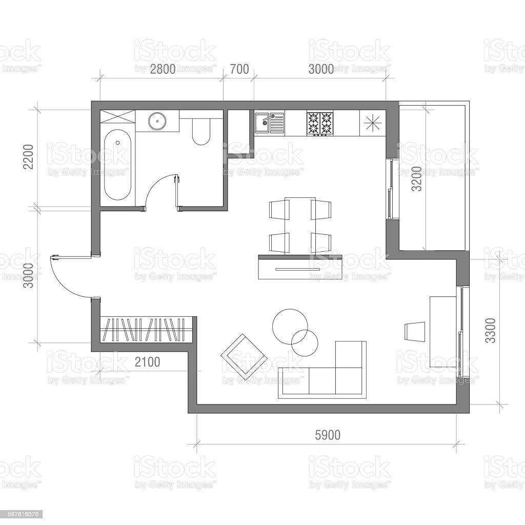 Architectural Floor Plan With Dimensions Studio Apartment Vector ...