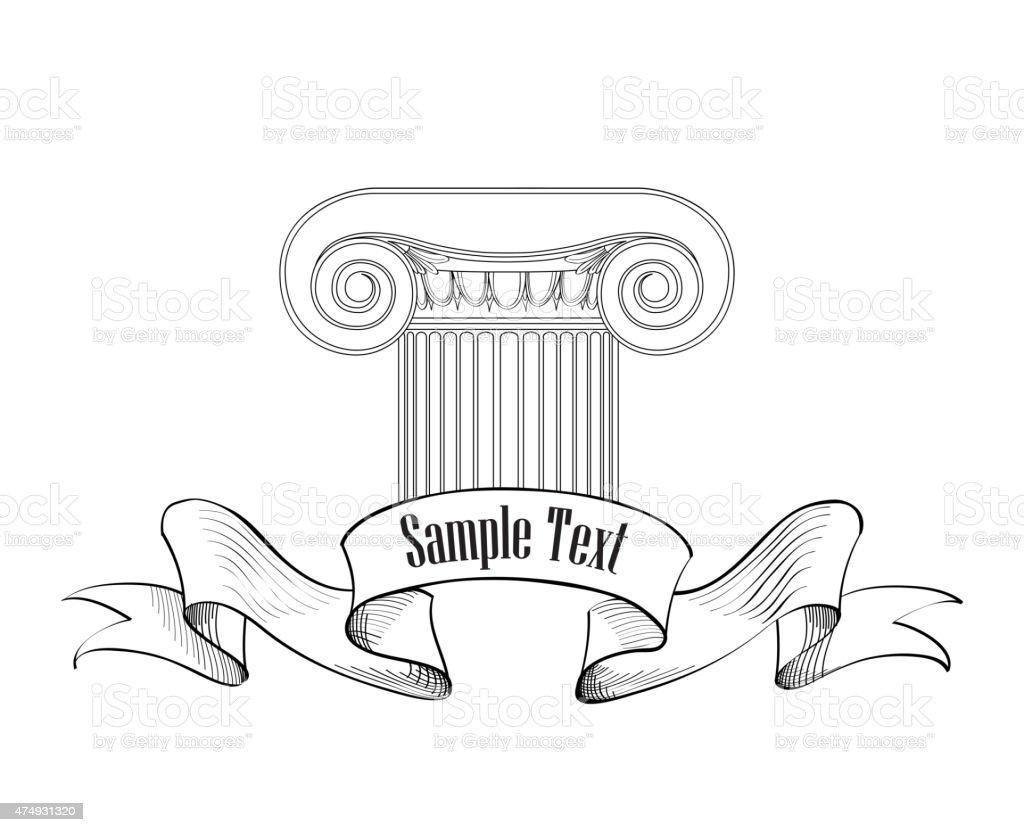 Architectural label. Classic column icon. vector art illustration