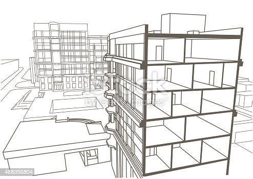 architectural linear sketch multistory apartment building