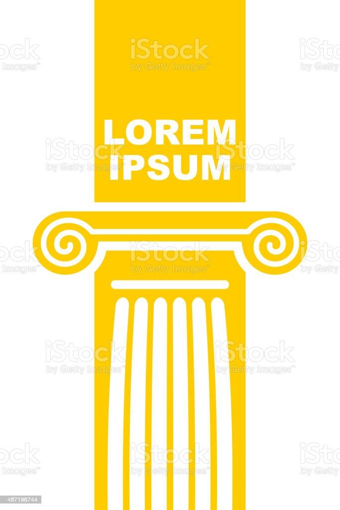 Architectural logo. Element of Greek columns capital. vector art illustration