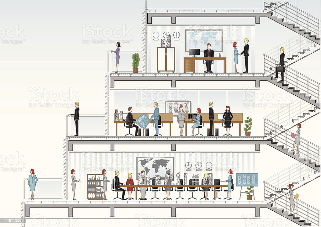 architectural office section vector art illustration