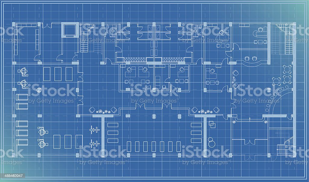 architectural plan blueprint entrance vector art illustration