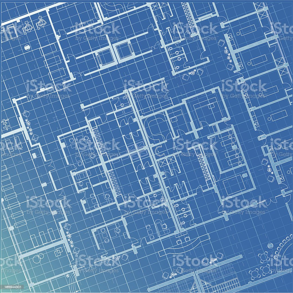 architectural plan blueprint vector art illustration