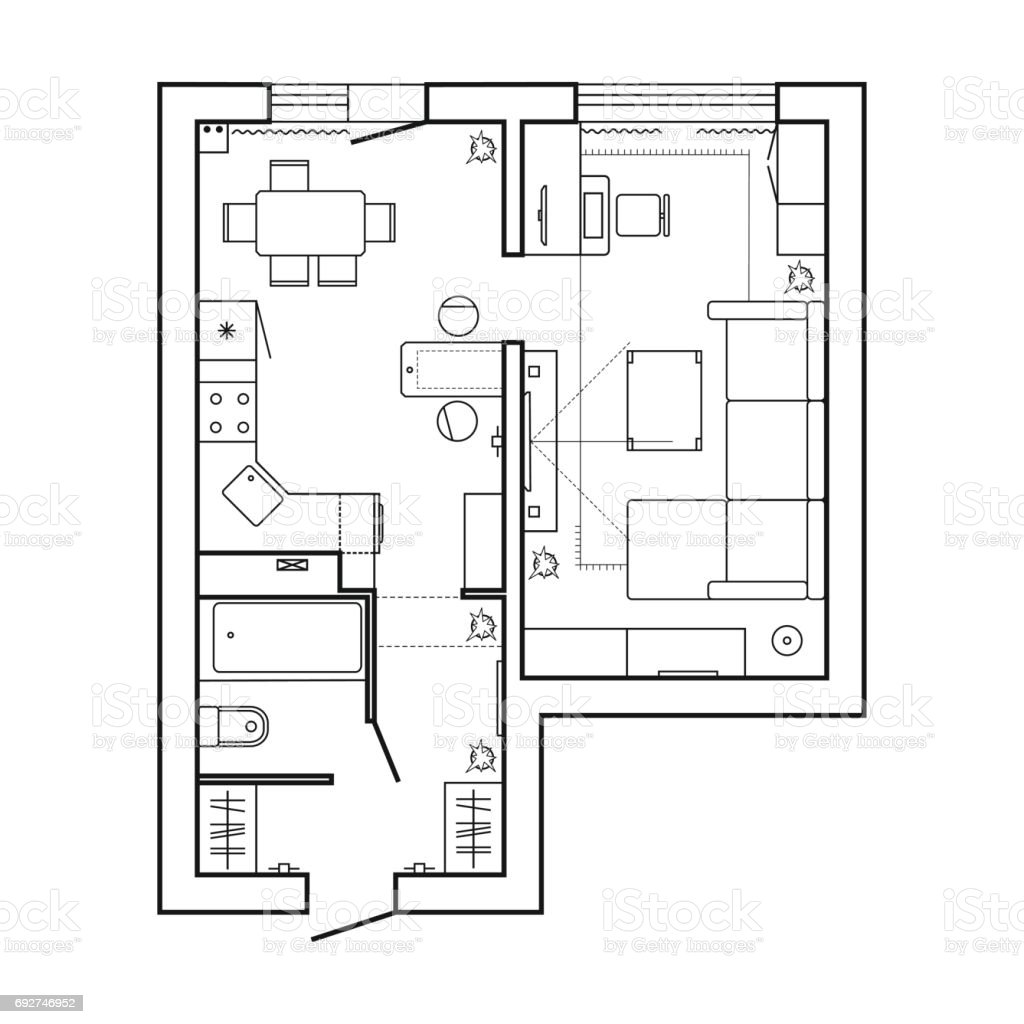 Plan architectural d 39 une maison d 39 habitation for Planos tecnicos arquitectonicos