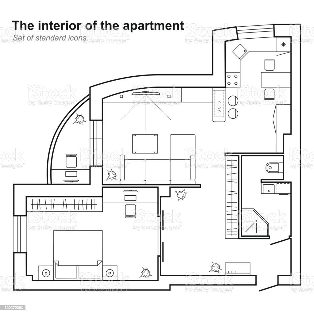 Plan architectural dune maison plan détage de vecteur stock vecteur libres