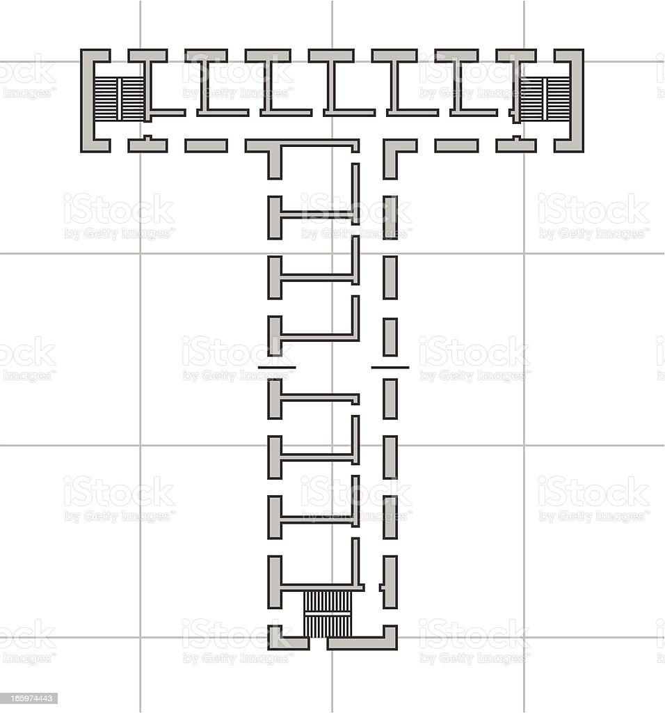 architectural plan of letter T royalty-free stock vector art