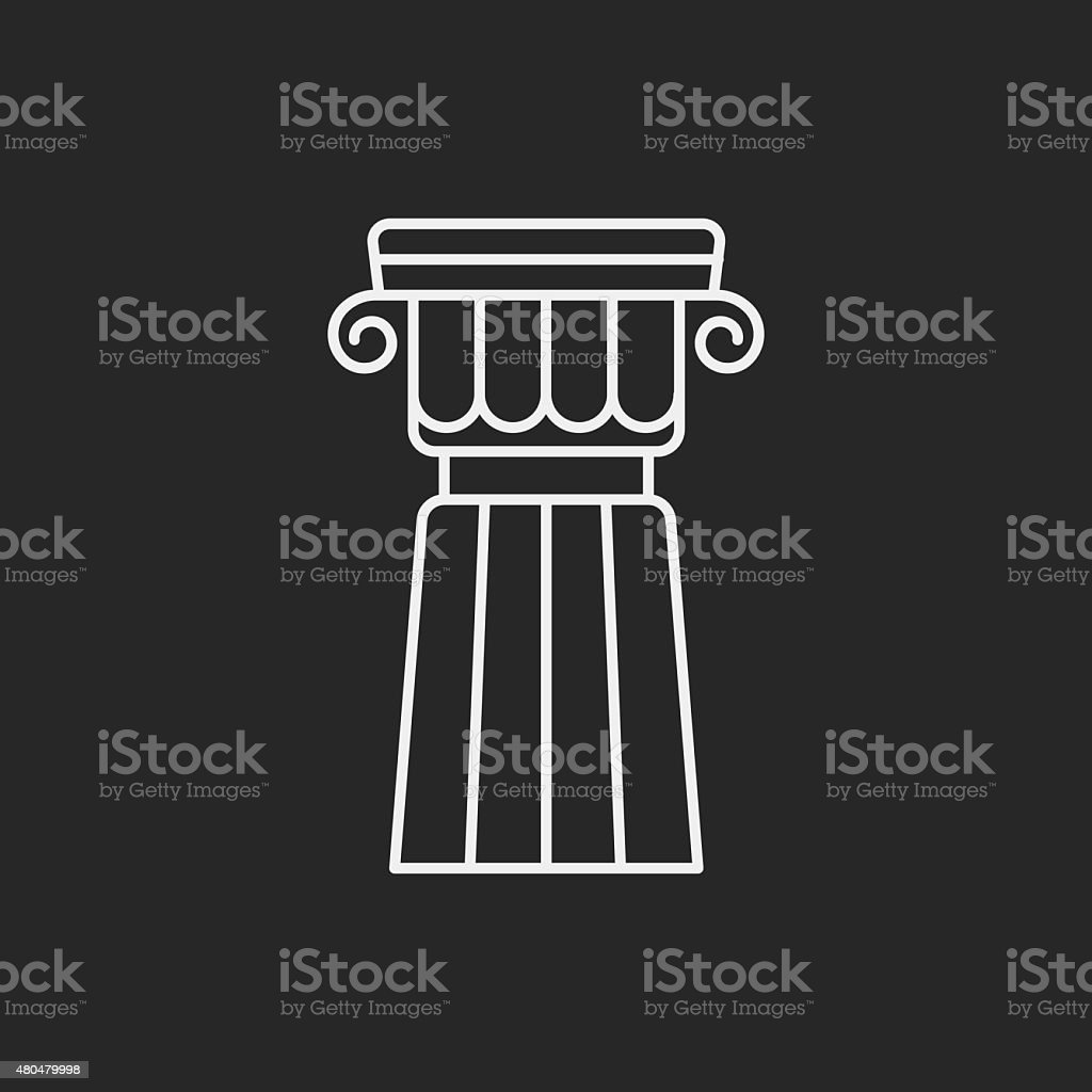 Architectural sculpture line icon vector art illustration