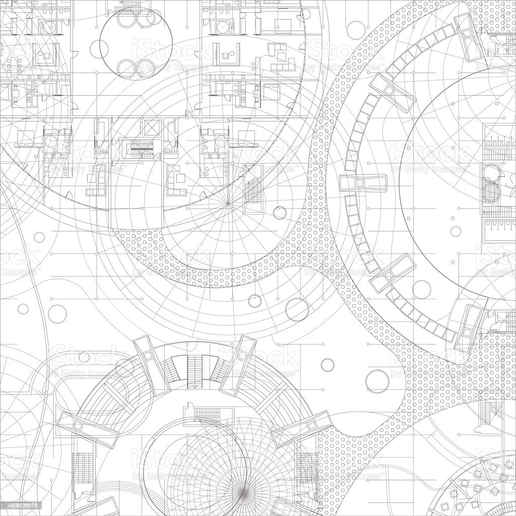 Architectural vector blueprint. vector art illustration