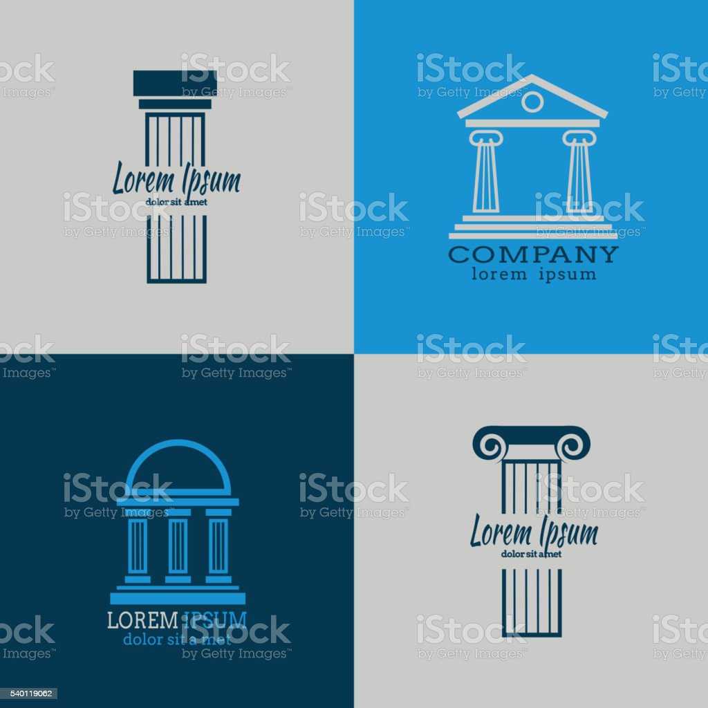 Architectural vector logo templates with columns. Column...