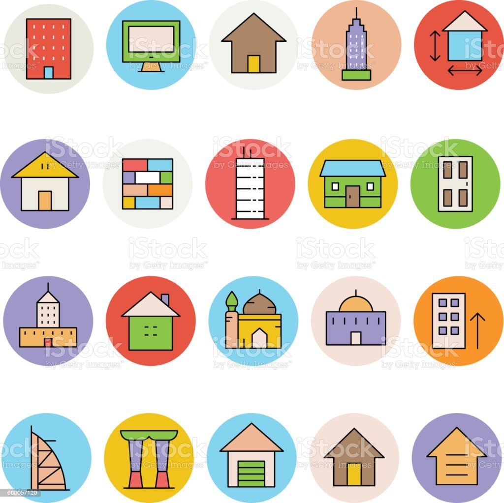 Architecture and Buildings Vector Icons 3 vector art illustration