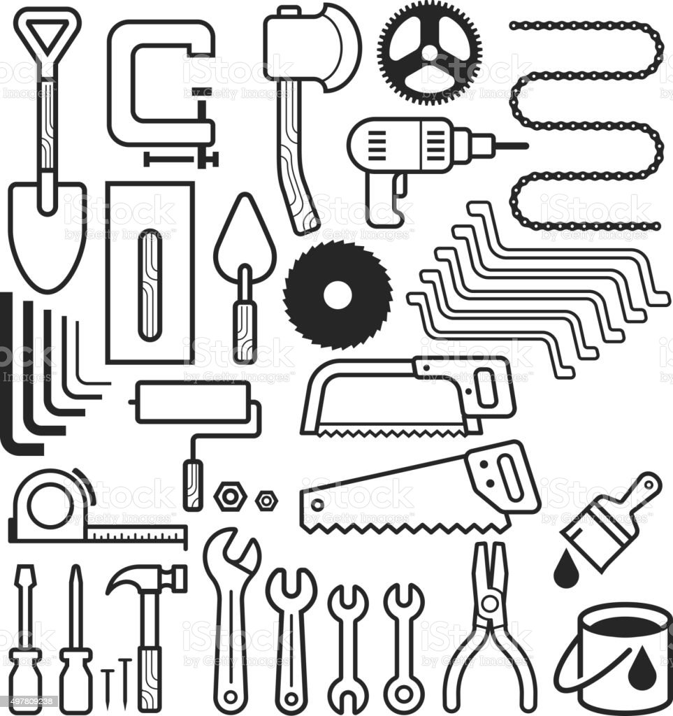 Architecture and construction tool icons set. vector art illustration