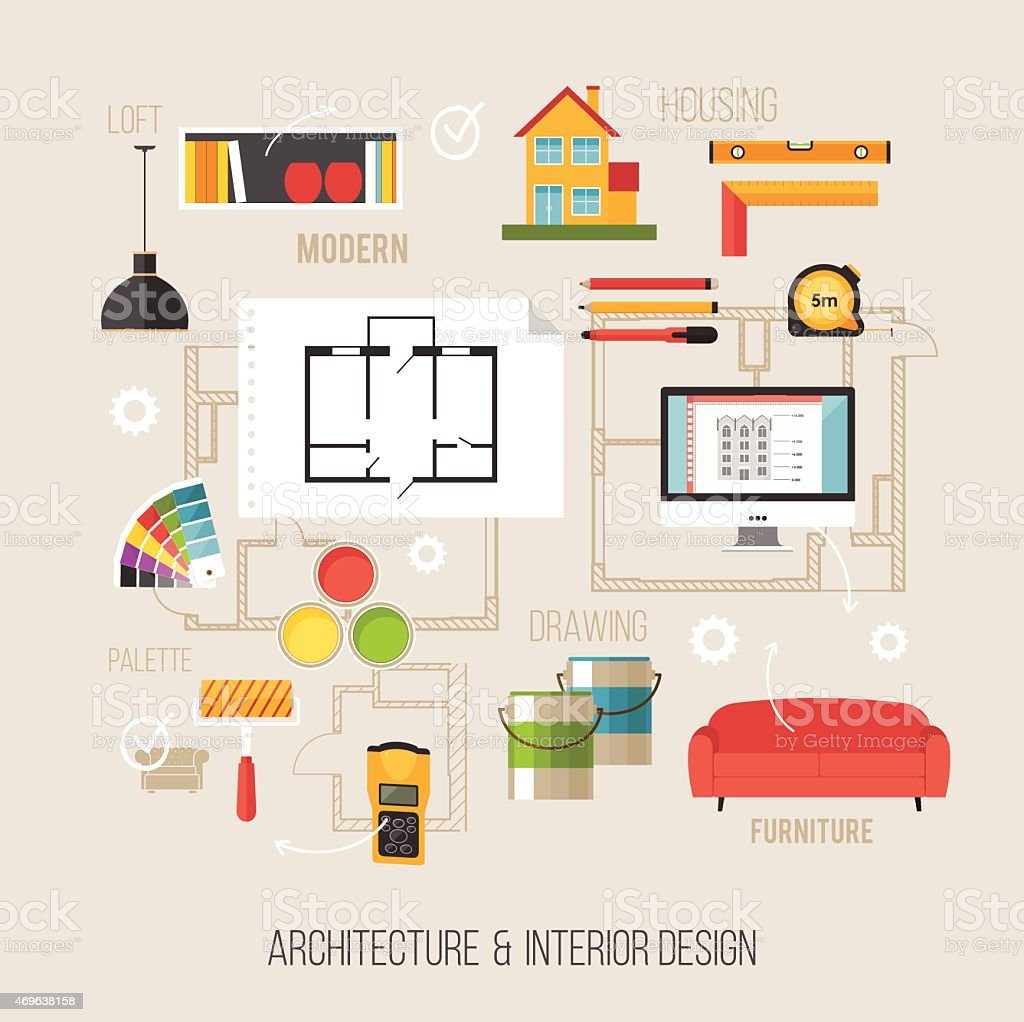 Architecture And Interior Design Concept With Vector Icons Royalty Free Stock Art