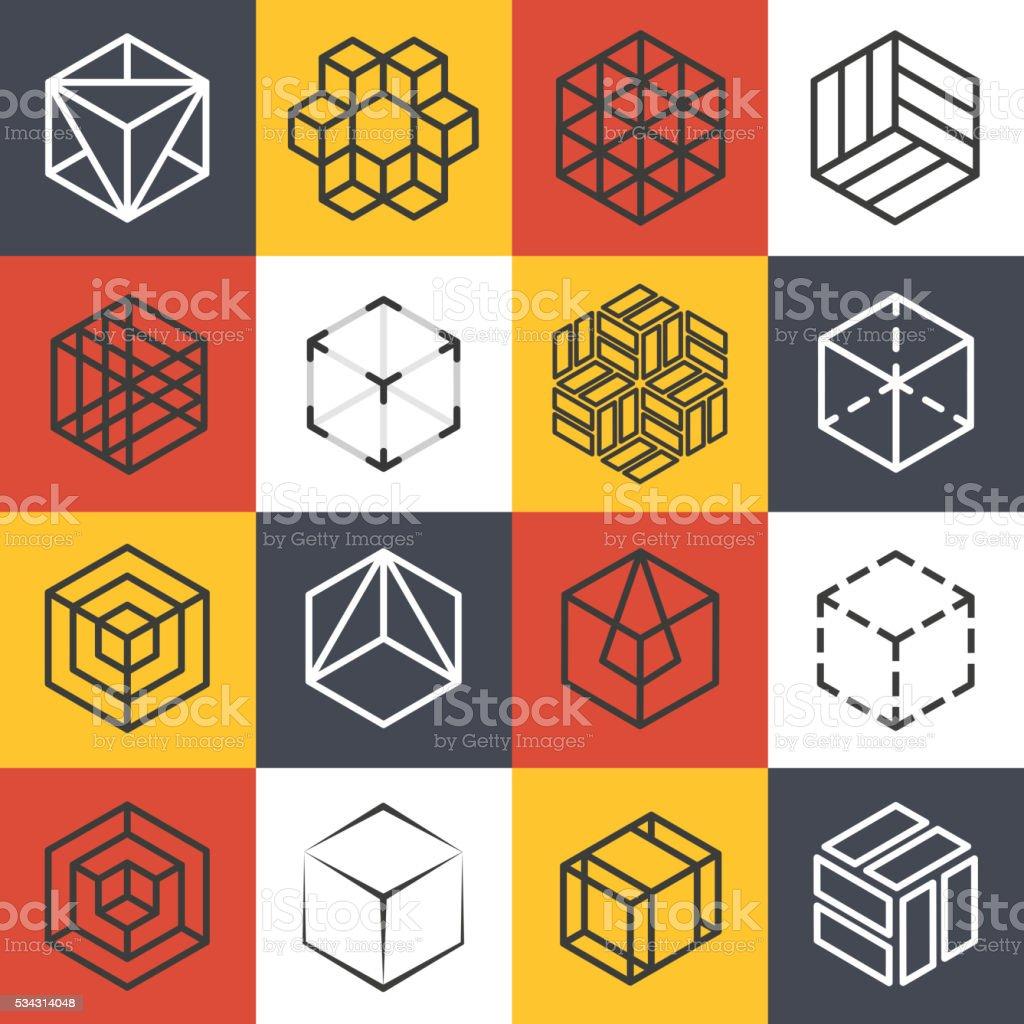 Architecture and interior studios or construction company line logo templates vector art illustration