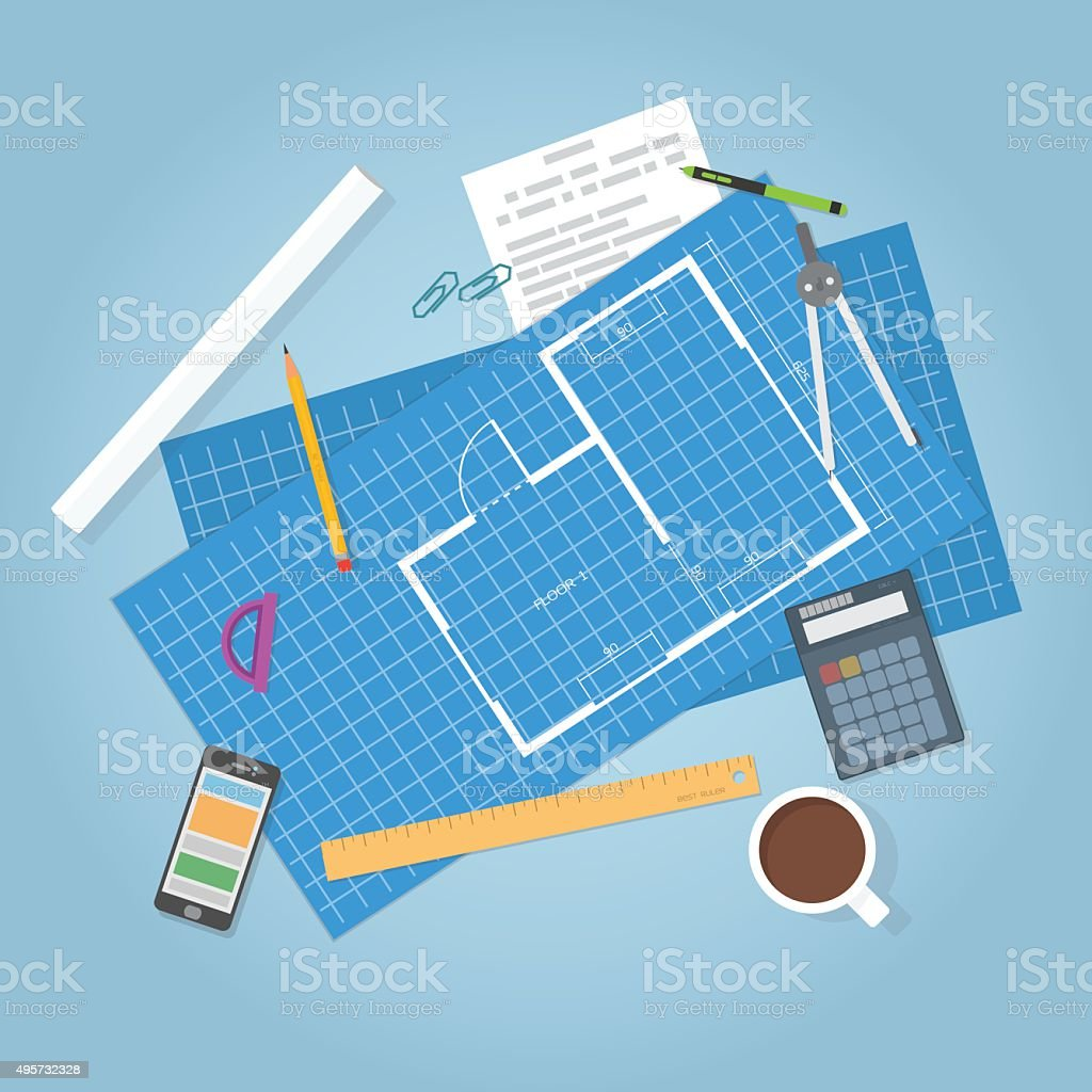 Architecture Blueprints Art architecture blueprints stock vector art 495732328 | istock
