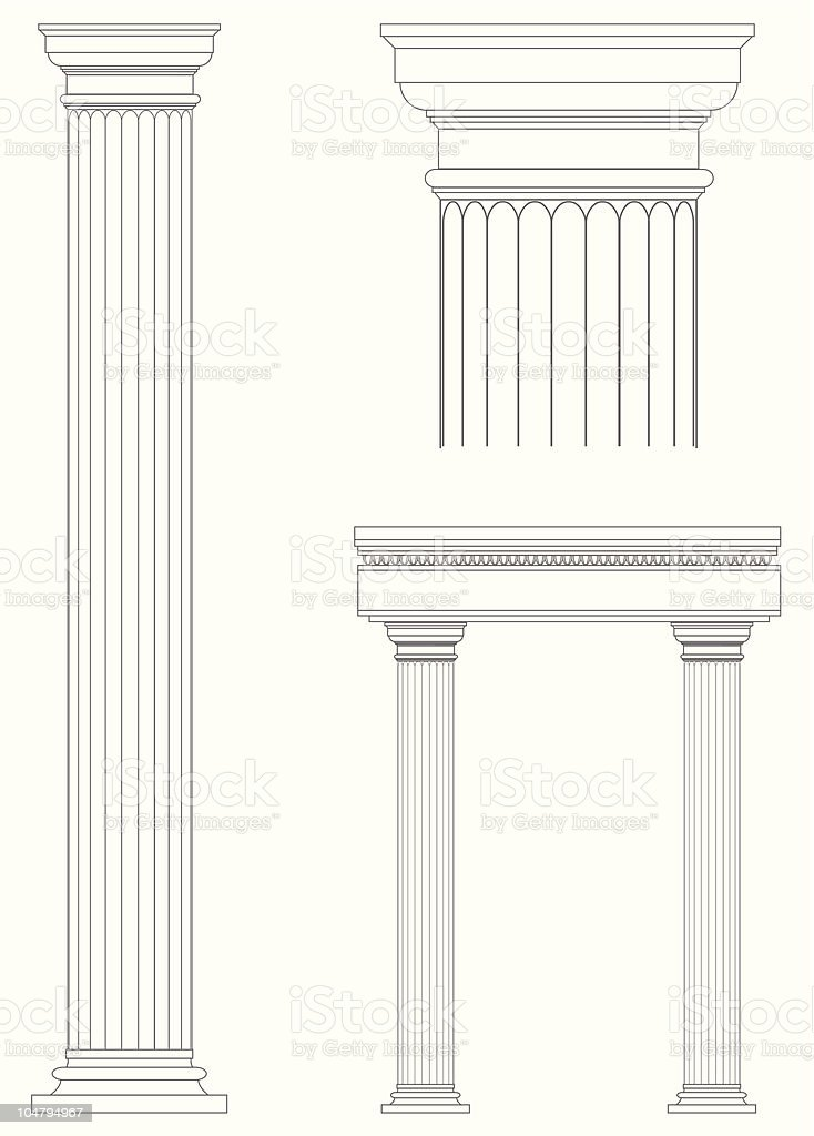 Architecture columns blueprint design vector art illustration