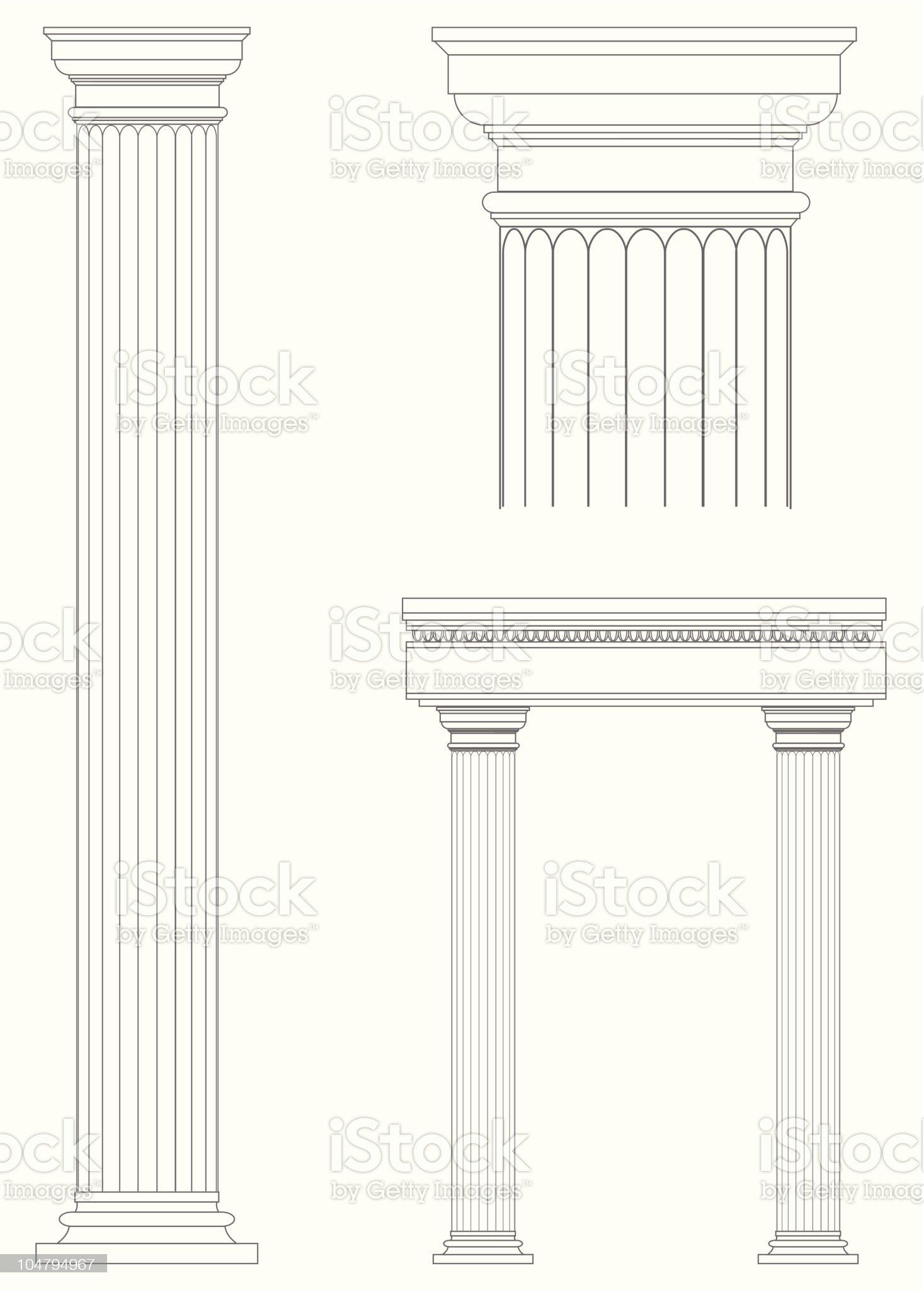 Architecture columns blueprint design royalty-free stock vector art