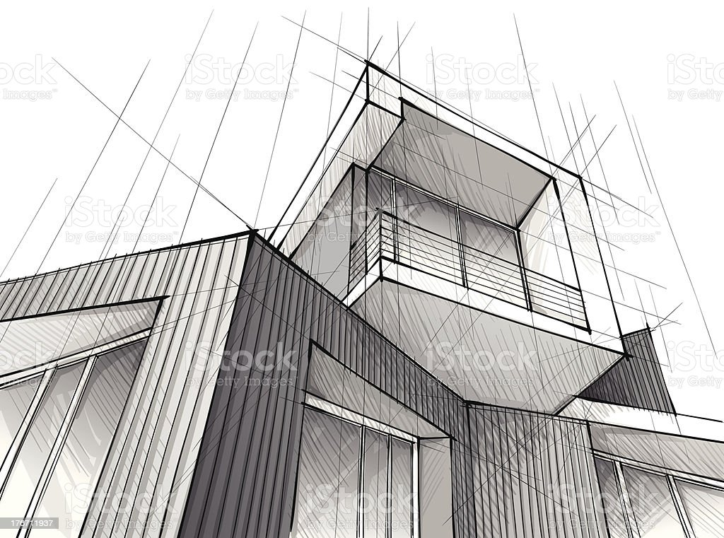 A architecture drawing of a building with white background vector art illustration