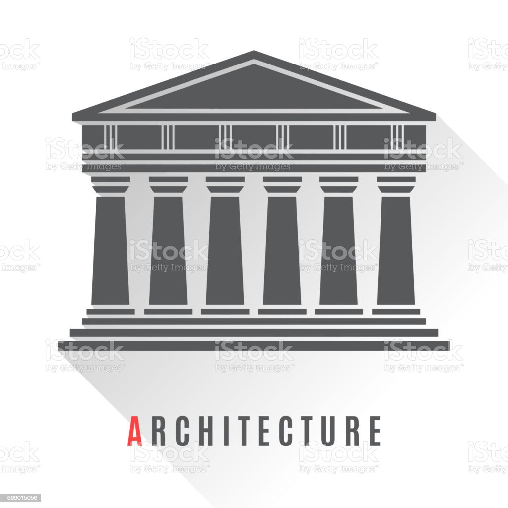 Architecture greek temple icon vector art illustration