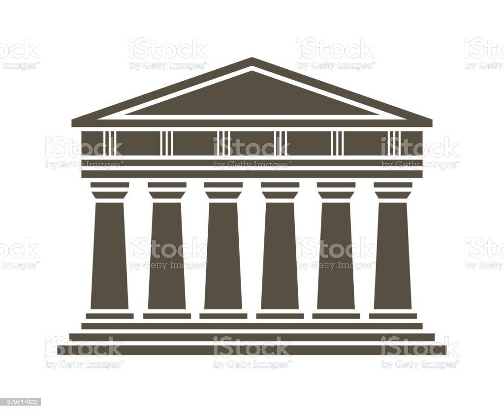 Architecture greek temple icon vector art illustration