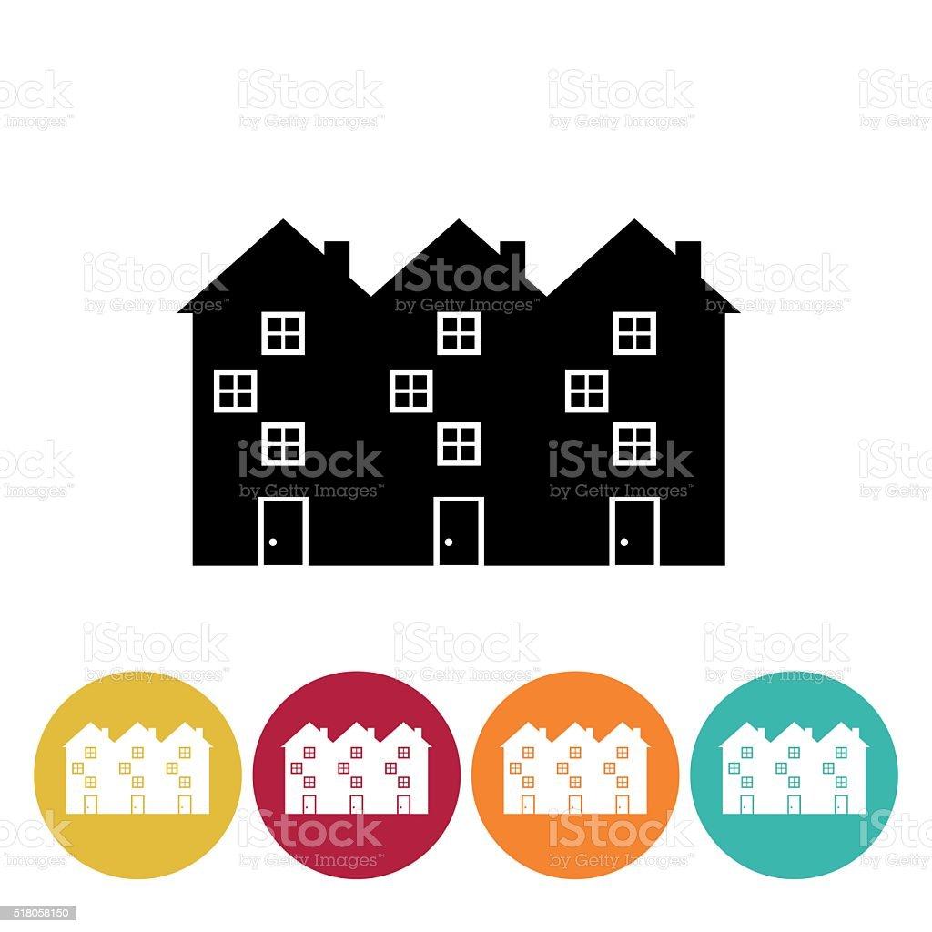 Architecture icon Set - Row Houses vector art illustration