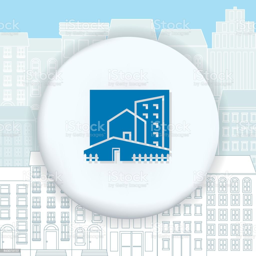 Architecture Icons Over a Cityscape vector art illustration