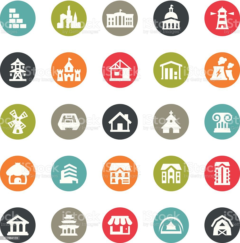 Architecture icons / Ringico series vector art illustration