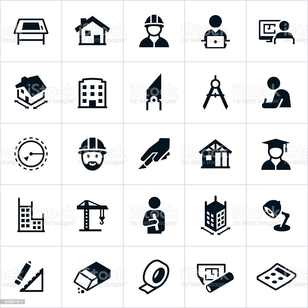 Architecture Icons vector art illustration