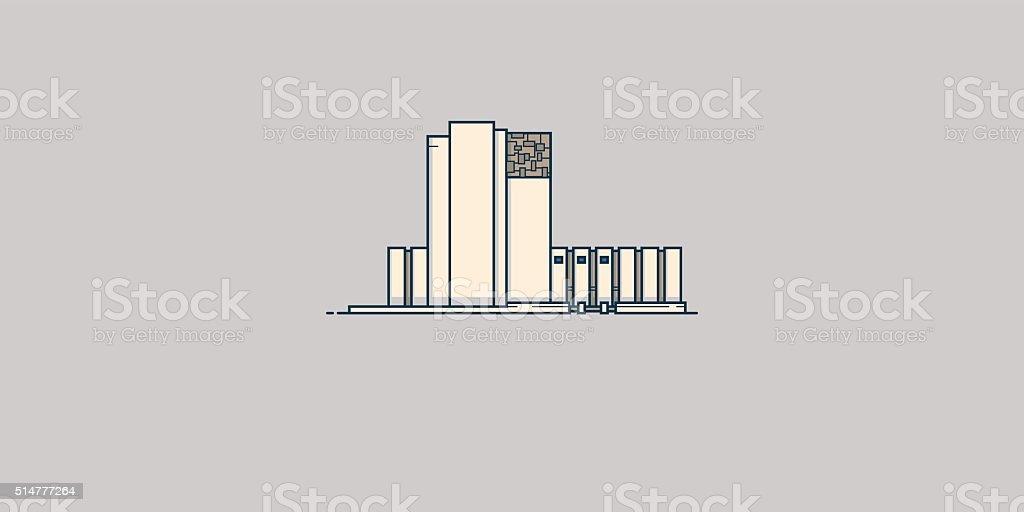Architecture library vector art illustration
