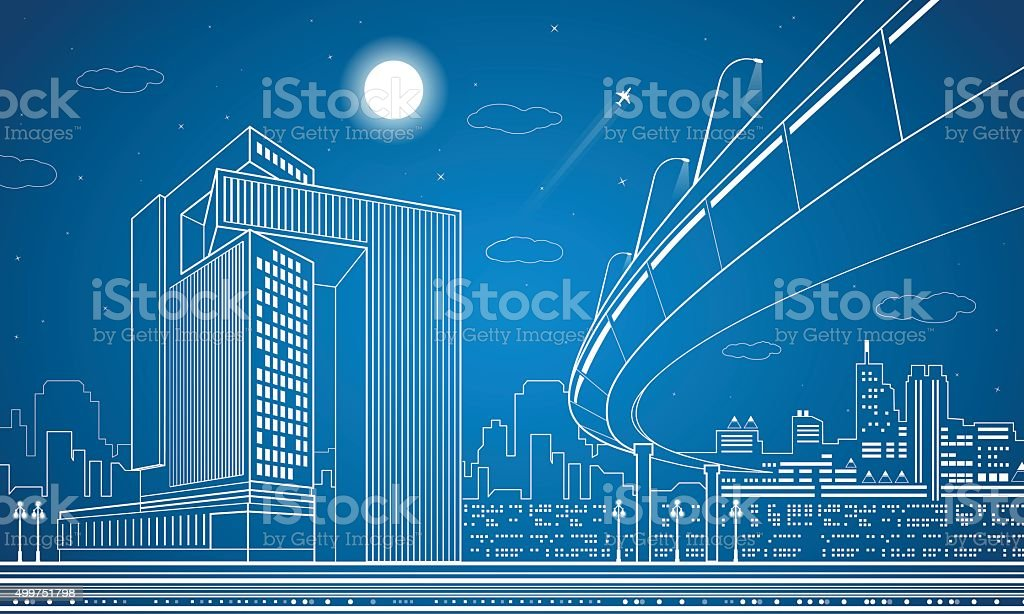Architecture, lines design, city infrastructure, overpass vector art illustration