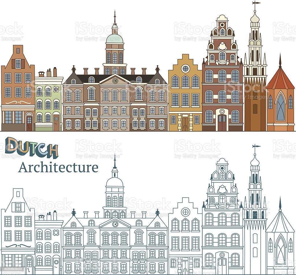Architecture of Amsterdam vector art illustration
