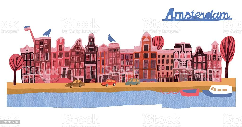 Architecture of Amsterdam vector art illustration