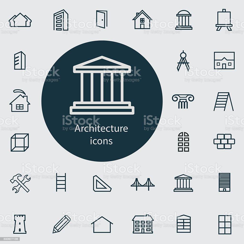 architecture outline, thin, flat, digital icon set vector art illustration