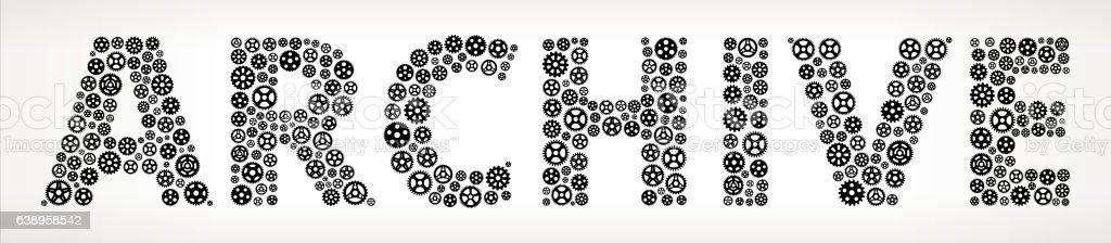 Archive Black Gears Vector Graphic Illustration. vector art illustration