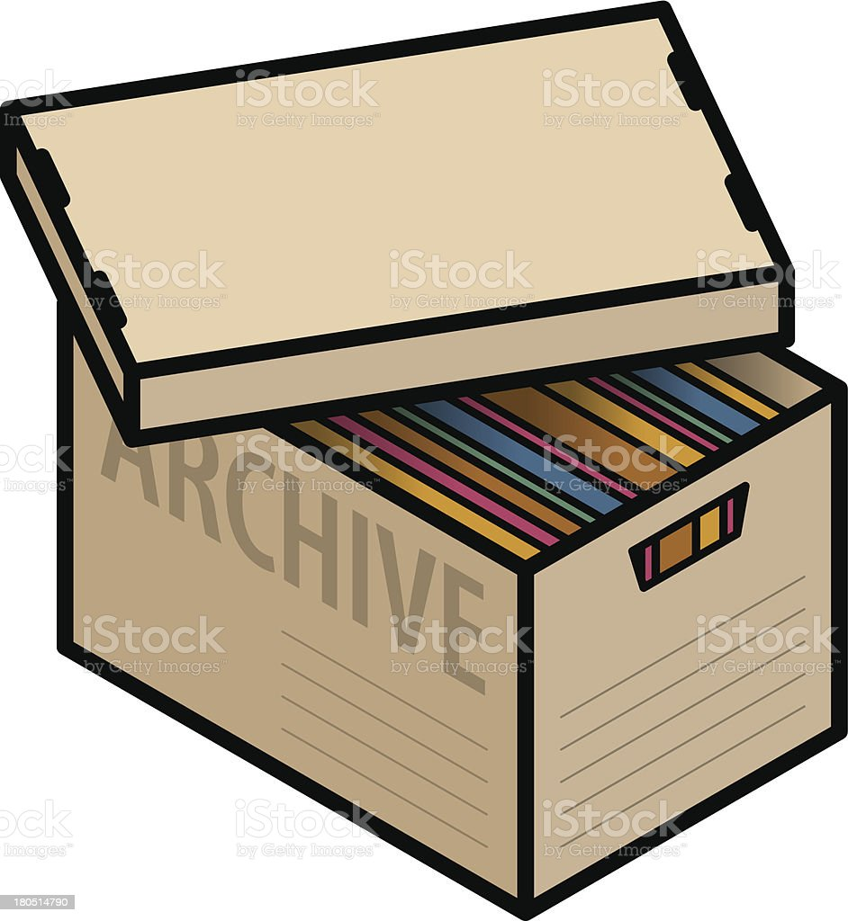 Archive box with files vector art illustration