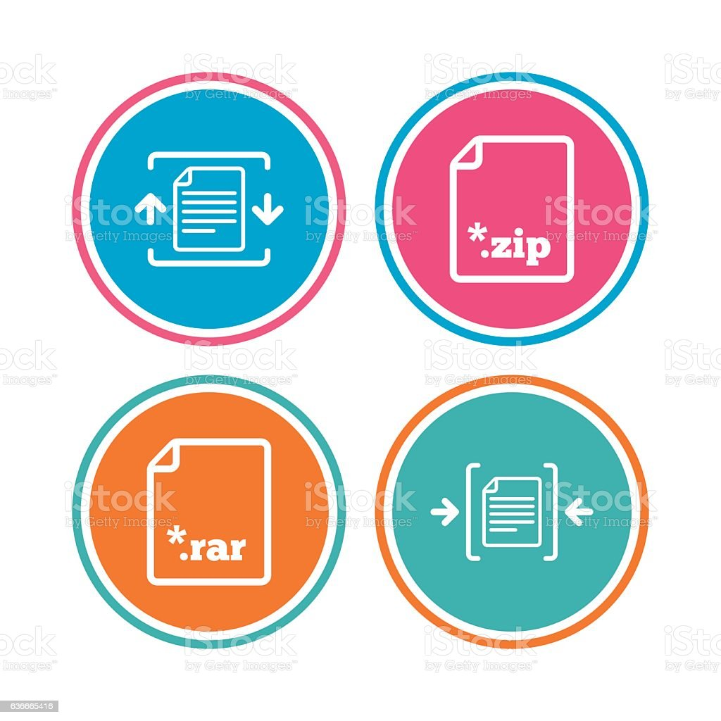 Archive file, compressed zipped document. vector art illustration