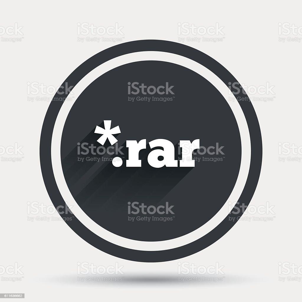Archive file icon. Download RAR button. vector art illustration