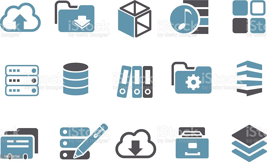 Archive Icon Set vector art illustration