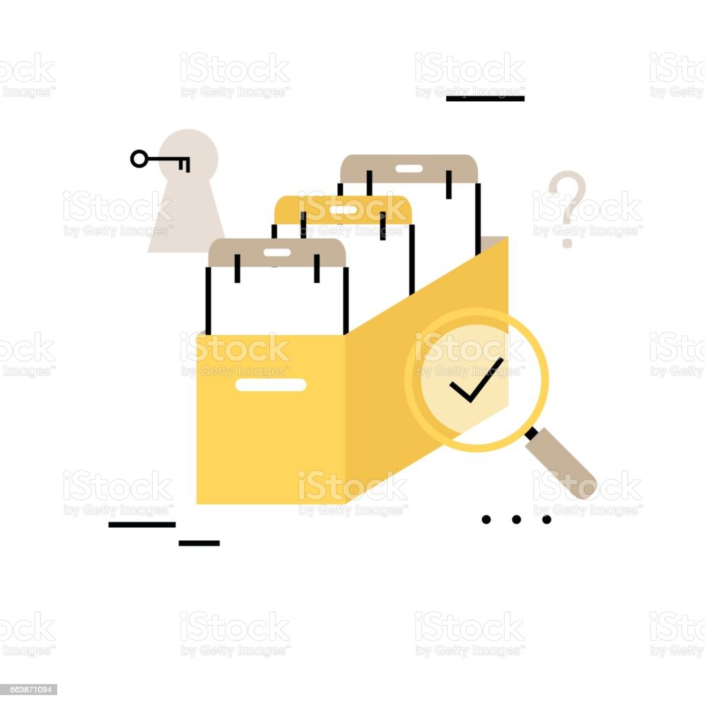 Archive papers drawer flat line business vector vector art illustration