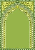 Arch-style Indian green ornaments, template for text.