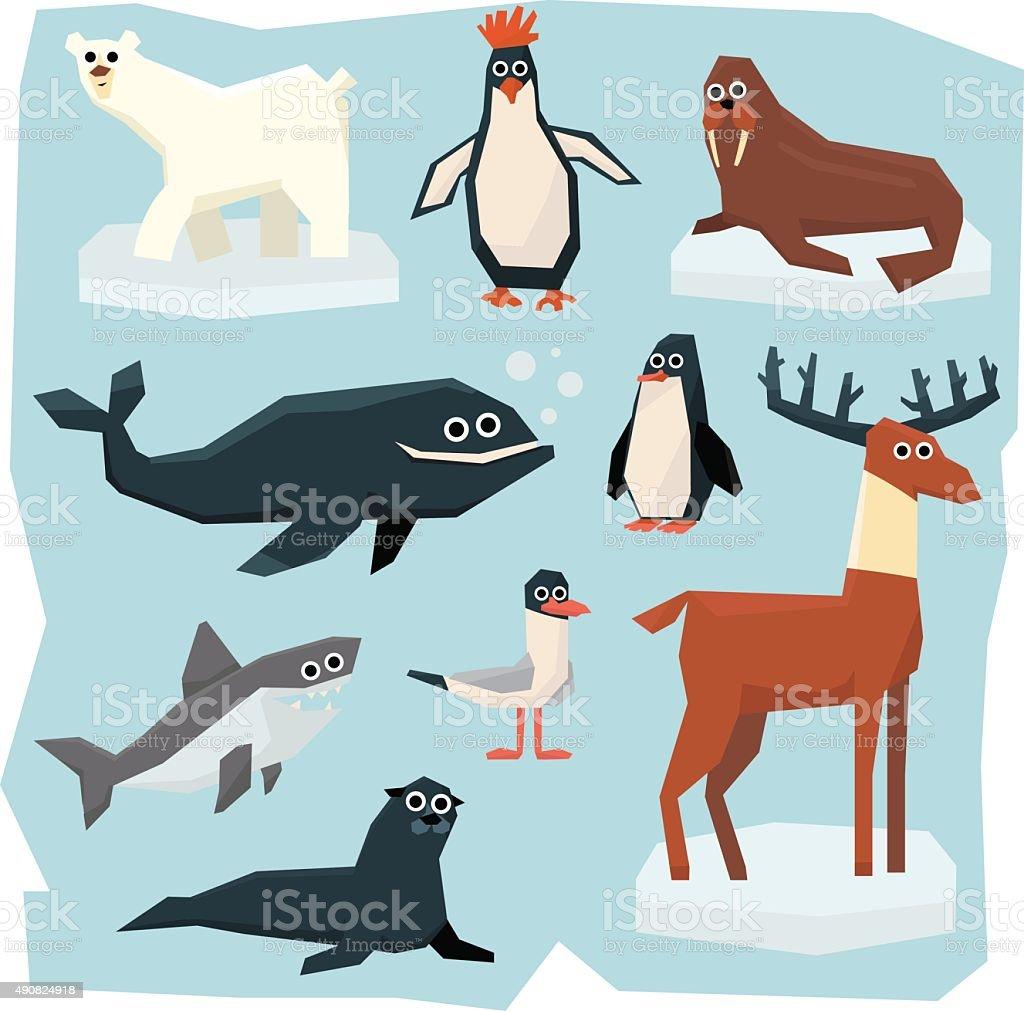 Arctic and Antarctic Animals, Fish Set vector art illustration